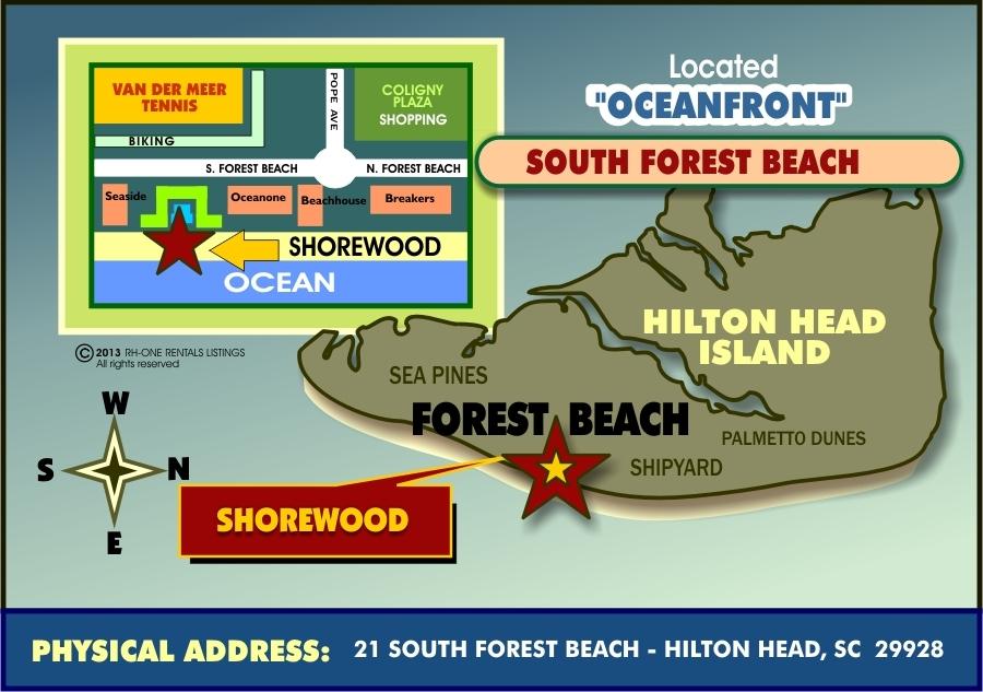 SHOREWOOD HILTON HEAD OCEAN VILLAS - North forest beach hilton head map